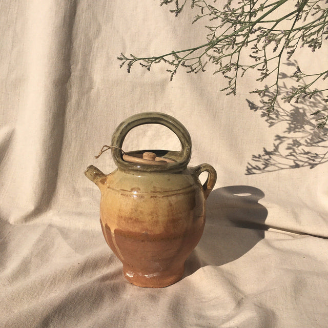 Hand dyed clay jug