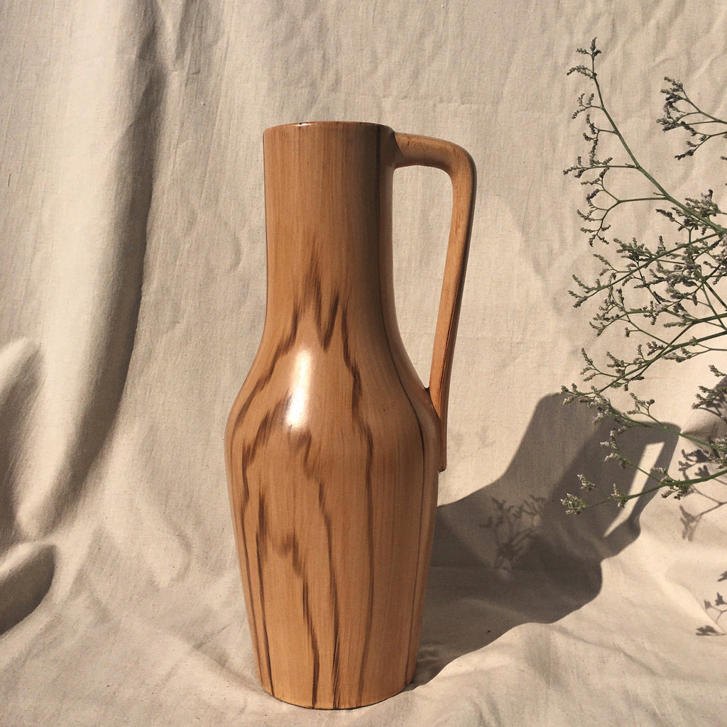 Wood look ceramic vase