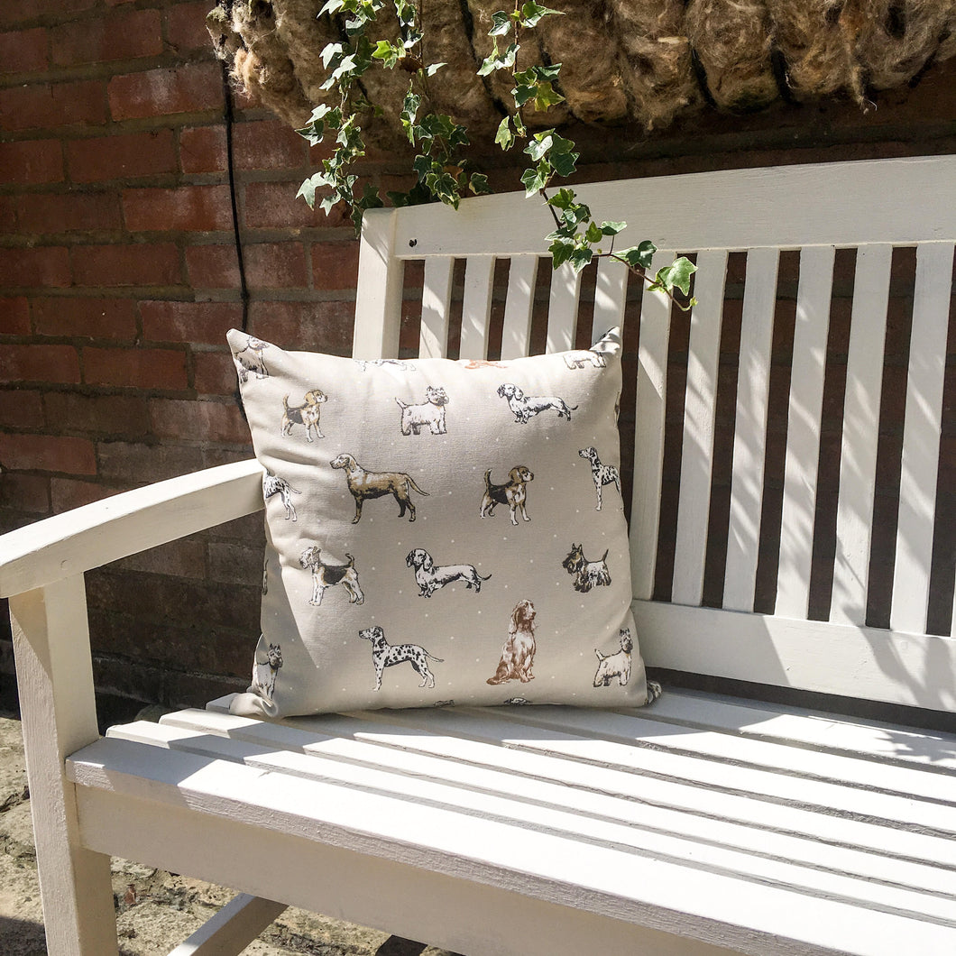 Square dog print cushion