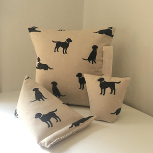 Square Black Labrador print cushion