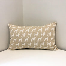 Rectangular white dog print cushion
