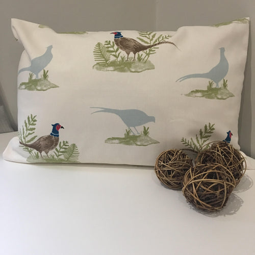 Rectangular pheasant print cushion