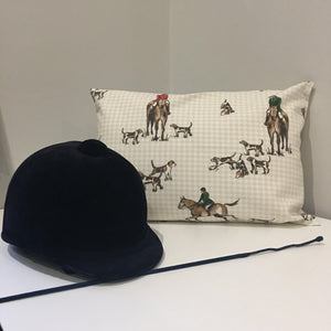 Rectangular Horse hunting scene print cushion