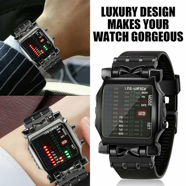 Watches Sports Military Luxury Mens Square Style Cool Colorful LED Digital Watch Binary Clock Relogio Digital Blue Clock - gadgetslines