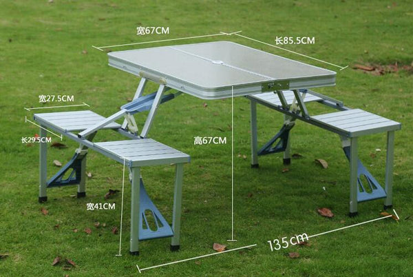 Outdoor Portable Camping Picnic Integrated Folding Table Chair Sets Table Chairs Set - gadgetslines