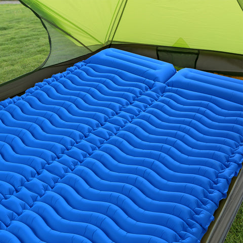 double sleeping mat 2 people ultra-lamp portable mattress inflatable mat camping mat bed outdoor with pillow - gadgetslines