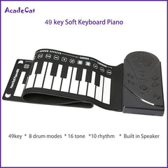 Free shipping 49 key hand roll electronic piano portable folding soft Flexible keyboard roll up piano with speaker - gadgetslines