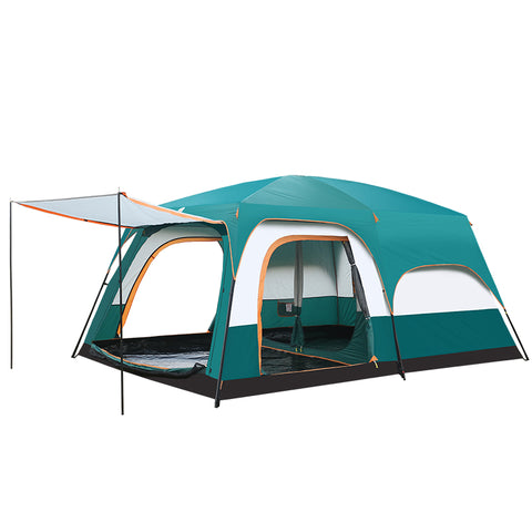 5-10 people outdoor camping double layer awning two bedrooms Waterproof Large Space family tent - gadgetslines