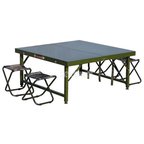 Army Green Field Folding Dining Table Field Portable Folding Table Military Green Steel Metal Strong Outdoor Camping Table - gadgetslines