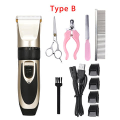 Electrical Pet Hair Trimmer Rechargeable Pet Dog Cat Low-noise Hair Clipper Grooming Shaver Cut Machine Set +Spare Blade - gadgetslines