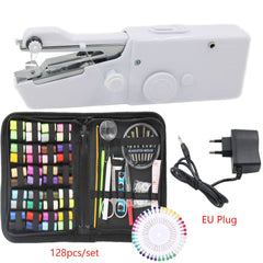 Portable Handheld Sewing Machines Kit Stitch Sew Needlework Cordless Clothes Fabrics Electric Sewing Machine with 128PCS Sewing - gadgetslines