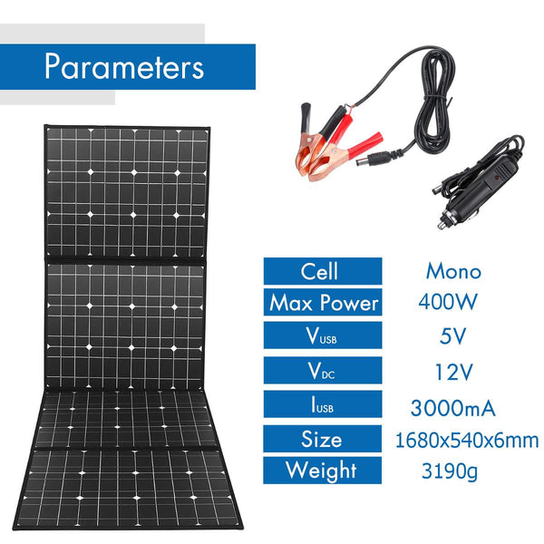 18V 400W Solar Panel Monocrystalline Solar Battery Foldable Package with 1.5m Cables + USB DC Interface Set for Outdoor Work - gadgetslines