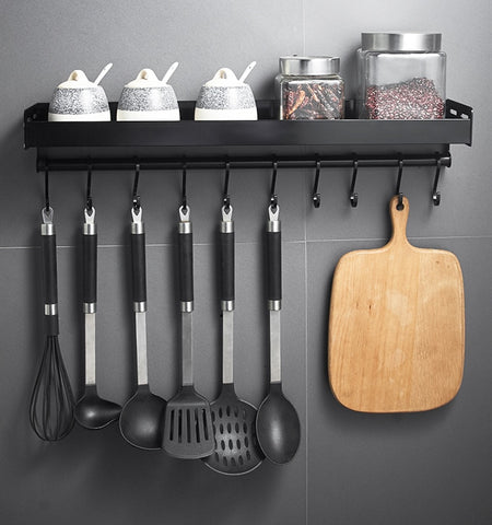 Black Wall Mounted Kitchen Racks with Hooks Space Aluminum Storage Shelf Kitchen Appliances Spice Rack Kitchen Rack Organizer - gadgetslines