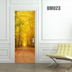 3D Door Sticker Forest Wall Mural Art Green Tree Drawbridge Wallpaper Poster Stickers Self Adhesive Removable Home Door Decals - gadgetslines