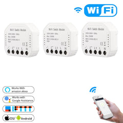 Wifi Smart Light Switch Diy Breaker Automation Module Smart Life/Tuya APP Remote Control,Works with Alexa Google Home 1/2 Way - gadgetslines