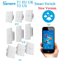 Sonoff T1 EU UK T2 US Smart Wifi Light Switch 1 2 3 Gang Touch/WiFi/RF/APP Remote Smart Home Wall Touch Switch Work with Alexa - gadgetslines