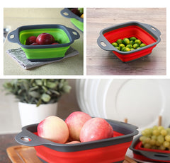 Square Shape Drain Basket Collapsible Colanders Foldable Silicone Kitchen Organizer Fruit Vegetable Baskets Folding Strainers - gadgetslines