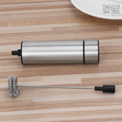 Powerful Electric Milk Frother With 2pcs Stainless Steel Spring Whisk Foam Maker - gadgetslines
