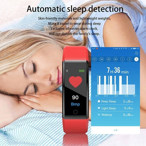 Ochine Waterproof Smart Bracelet Watch 115 Plus Blood Pressure Monitoring Heart Rate Monitoring Smart Wristband Fitness Band - gadgetslines