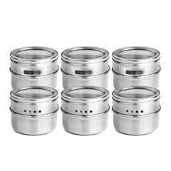 6pcs / set Clear Lid Magnetic Spice Jar Stainless Steel Spice Sauce Storage Container Pots Kitchen Condiment Holder Houseware - gadgetslines