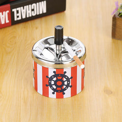 Stainless Steel Portable Ashtray Housewares Spinning With Cover Round Push Down Cigarette Ashtray with Spinning Tray Holder - gadgetslines