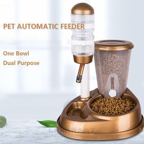 2 In 1 Pet Cat Dog Automatic Feeder with Large Capacity Water Fountain Food Bowls and Water Bottle Dispenser for Dog Cat Rabbit - gadgetslines