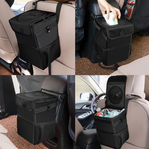 Waterproof Car Trash Can Bin Auto Car Accessories Organizer Garbage Dump For Trash Can Cars Storage Pockets Closeable Portable - gadgetslines
