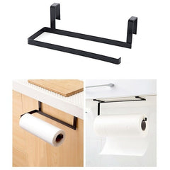 Wrought iron kitchen paper towel rack hanging bathroom roll paper holder kitchen cabinet door hook storage organizer WF812328 - gadgetslines