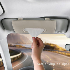 Car Sunshade Paper Towel Bag Multi - Function Leather Car Hanging Seat Car Carton Tissue Box Shade Paper Towel Box - gadgetslines