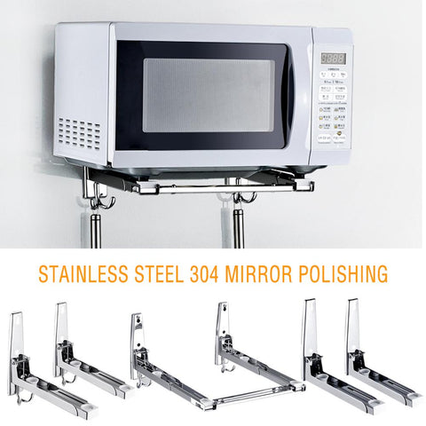 304 Stainless Steel Microwave Oven Rack Wall-mounted Kitchen Shelf Retractable Bracket Oven Rack Thicken Version Thickened Hold - gadgetslines