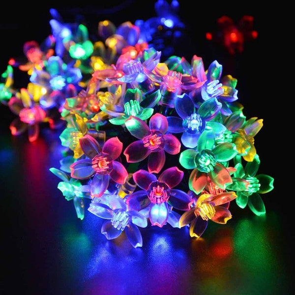 Lawn Lights LED Patio Garland Lighting String Cherry Blossom Waterproof Light Indoor Outdoor Garden Holiday Decor LED Solar Lamp -