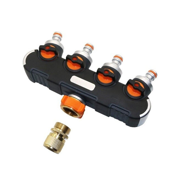 Garden 4-ways Hose Splitters Valve with Brass Quick connector Outdoor Faucet Adapter Irrigation Wash car tools 1 Set - gadgetslines