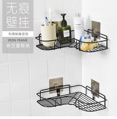 Bathroom Punch-free corner shelf angle frame wrought iron kitchen seasoning wall hanging corner storage rack ZP7191626 - gadgetslines