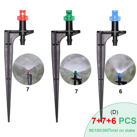 MUCIAKIE 20PCS 90/180/360 Degrees Misting Nozzles on 10.7cm Stake 1/4'' Barb Garden Irrigation Sprinklers for Agriculture Farm - gadgetslines