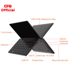 GPD Pocket 2 Pocket2 8GB 256GB 7 Inch Touch Screen Mini PC Pocket Laptop Notebook CPU Intel Celeron 3965Y Windows 10 Systerm - gadgetslines