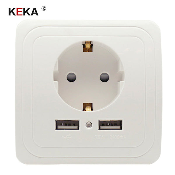KEKA EU Plug Socket Dual USB Port socket Wall Charger Adapter Charging 2A Wall Charger Adapter Power Outlet white pop sockets CE -