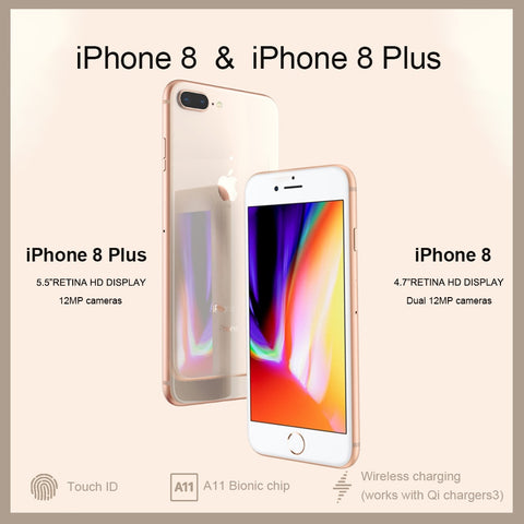 "Unlocked New Original Apple iPhone 8/8 Plus TouchID 4G LTE iOS  12MP  Camera 4.7/5.5"" Retina HD Display Wireless Smart Phone - gadgetslines"