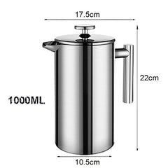 French Press Coffee Maker Stainless Steel Coffee Percolator Pot,Double Wall & Large Capacity Manual Cafetiere Coffee Containers - gadgetslines
