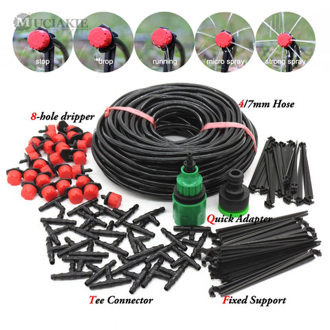 MUCIAKIE 50M-5M DIY Drip Irrigation System Automatic Watering Garden Hose Micro Drip Watering Kits with Adjustable Drippers - gadgetslines