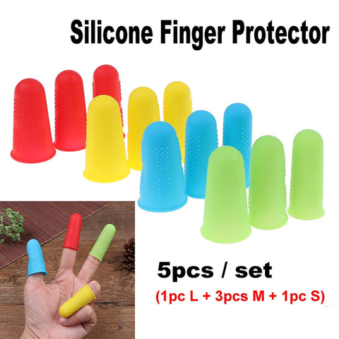 5pcs Silicone Finger Protector Sleeve Cover Anti-cut Heat Resistant Anti-slip Fingers Cover For Cooking Kitchen Tools - gadgetslines