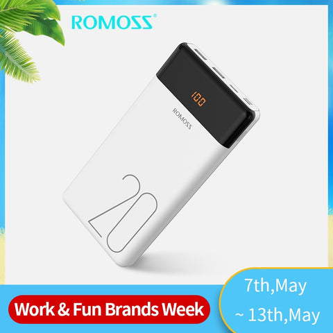 20000mAh ROMOSS LT20 Power Bank Dual USB Powerbank External Battery With LED Display Fast Portable Charger For Xiaomi For iPhone -