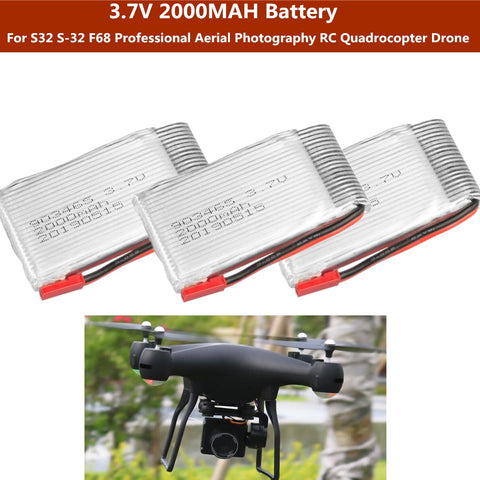 2PCS or 3PCS or 4PCS  3.7V 2000mah battery For S32 S-32 F68 Professional Aerial Photography RC Quadrocopter Drone parts - gadgetslines
