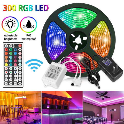 Memory Function RGB 5M IP65 16.4ft Waterproof 3528 SMD 300 LED Flexible Light Strip 12V+44 Key Remote 8-brightness Level CSV - gadgetslines
