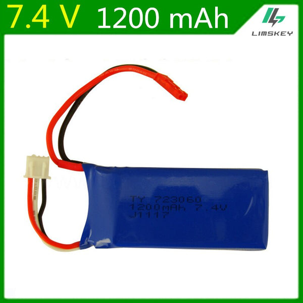 7.4V 1200mAH Lipo Battery For WLtoys V353 V666 RC quadrocopter X6 H16 7.4 V 1200 mAH battery 723060 2S 7.4 Lipo battery - gadgetslines