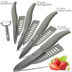 Ceramic Knife 3 4 5 inch + 6 inch Kitchen Knives Serrated Bread Set +Peeler Zirconia Black Blade Fruit Chef Knife Vege Cook Tool -