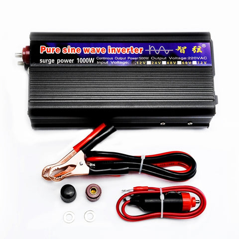 WORKSTAR Peak 1000W Pure Sine Wave Inverter DC 12V/24V to AC220V 50HZ OFF Grid Inverter Solar System Inverter Warranty 2 Years - gadgetslines