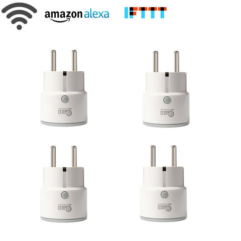 4PCS/lot Smart Plug EU Support Amazon Alexa Google Home,IFTTT Remote Control WiFi Switch Mini Socket Outlet with Timing Function -