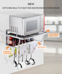 Space Aluminum Microwave Oven Bracket Wall Mounted Kitchen Rack Light Grate 2 kitchen Shelf Microwave Oven Rack Storage Wall F - gadgetslines