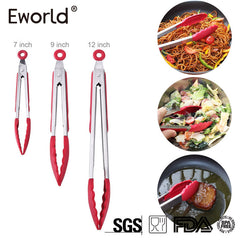 Eworld New Silicone Kitchen Cooking Salad Serving BBQ Bread Tongs High temperature resistance  Stainless Steel Handle Utensil - gadgetslines