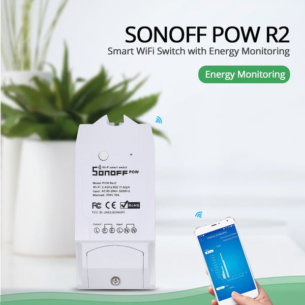 Sonoff Pow R2 15A Smart Wifi Switch Power Monitor Measurement Home Energy Wireless Overload Protection Remote Voice Control Home -